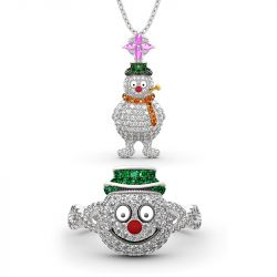 "Jeulia ""Merry Christmas"" Snowman Design Sterling Sliver Jewelry Set"