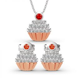 "Jeulia ""Sweet Secrets"" Cupcake Design Sterling Silver Jewelry Set"