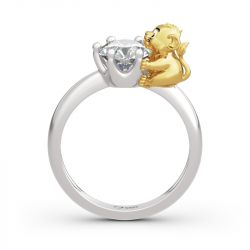 "Jeulia Hug Me ""King of the Jungle"" Lion Crown Round Cut Sterling Silver Ring"