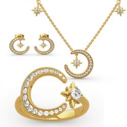 """Jeulia """"Moon and Star"""" Round Cut Sterling Silver Jewelry Set"""