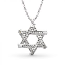 """Jeulia """"Six-pointed Star of David"""" Round Cut Sterling Silver Necklace"""