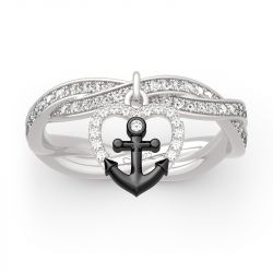 "Jeulia ""Navy Anchor&Heart"" Twist Design Sterling Silver Ring"