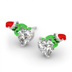 "Jeulia Hug Me ""Welcome Christmas"" Heart Cut Sterling Silver Earrings"