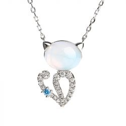 "Jeulia ""Moonlight Magic"" Cat Sterling Silver Moonstone Necklace"