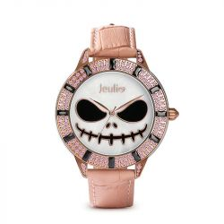 """Jeulia """"Magic at Midnight"""" Skull Design Quartz Pink Leather Watch with Mother-of-Pearl Dial"""