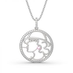 """Jeulia """"Once Upon A Time"""" Young Lady Design Sterling Silver Necklace"""