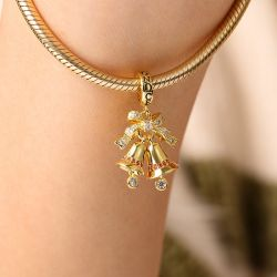 Jingle Bells Pendant Dangle Charm Sterling Silver 18k Gold Plated for Christmas