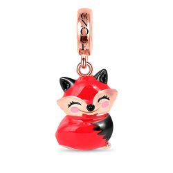 Cute Fox Pendant Sterling Silver 18K Rose Gold Plated Dangle Charm