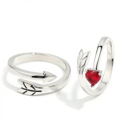 "Jeulia ""Cupid's Arrow"" Sterling Silver Couple Rings"