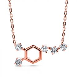 "Jeulia ""Wake up! Dopamine"" Sterling Silver Hexagon Chemical Structure Molecular Necklace"