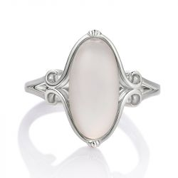 Jeulia Vintage Large Center Stone Sterling Silver Ring