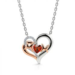 """Jeulia """"I Love You with All My Heart"""" Mom Heart Sterling Silver Necklace"""
