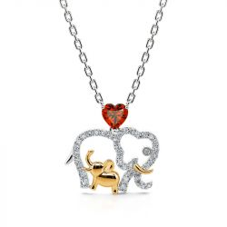 "Jeulia ""Accompany with You Forever"" Lucky Elephant Mom and Baby Sterling Silver Necklace"