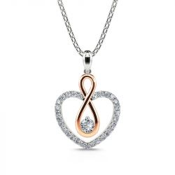"""Jeulia """"You Complete Me"""" Infinity Love Heart Sterling Silver Necklace"""