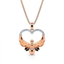 Jeulia Flying Angel Heart Pendant Sterling Silver Necklace