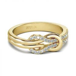 Jeulia Knot Design Sterling Silver Ring