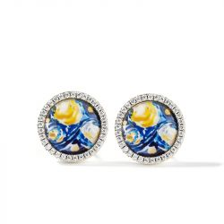 """Jeulia """"Quiet Moment"""" The Starry Night Inspired Sterling Silver Earrings"""