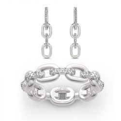 Jeulia Chain Link Round Cut Sterling Silver Jewelry Set