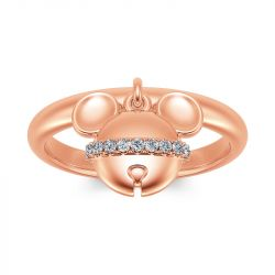 Jeulia Cartoon Mouse Rose Gold Tone Sterling Silver Dangle Ring