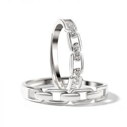 """Jeulia """"Love You All My Life"""" Chain Link Adjustable Sterling Silver Couple Rings"""