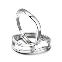 """Jeulia """"The Only Enternal Love"""" Simple Polished Adjustable Sterling Silver Couple Rings"""