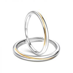 """Jeulia """"Every Side of Love"""" Mobius Two Tone Adjustable Sterling Silver Couple Rings"""