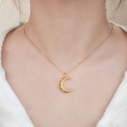Jeulia Personalized Name Moon Sterling Silver Necklace