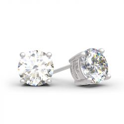 Jeulia Classic Round Cut Sterling Silver Stud Earrings