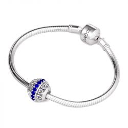 Heart with Blue Stone Charm Sterling Silver