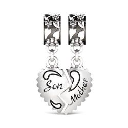Mother and Son Charm Sterling Silver