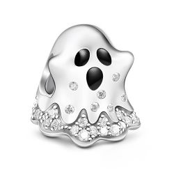 """Trick-or-Treating"" Ghost Sterling Silver Charm"