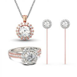 Jeulia Two Tone Halo Round Cut Jewelry Set