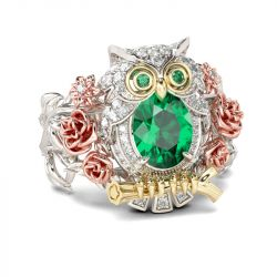 Jeulia Three Tone Oval Cut Sterling Silver Owl Ring