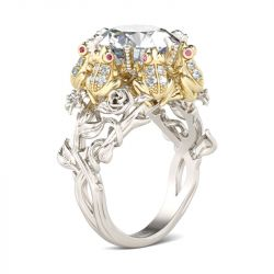 Jeulia Hug Me Flower Round Cut Sterling Silver Frog Ring