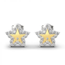 "Jeulia ""A Star Is Born"" Sterling Silver Engraved Earrings"
