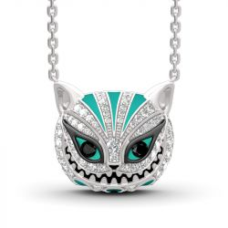 "Jeulia ""Appear and Disappear at Will"" Cat Sterling Silver Enamel Necklace"