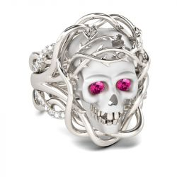 Jeulia 3PC Round Cut Sterling Silver Skull Ring