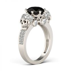 Jeulia Crown Round Cut Sterling Silver Skull Ring