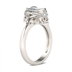 Jeulia Simple Emerald Cut Sterling Silver Skull Ring