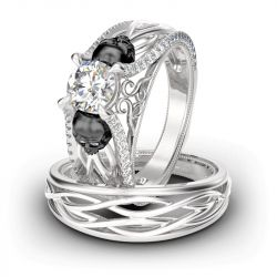 Jeulia Two Tone Intertwined Round Cut Sterling Silver Skull Ring Set