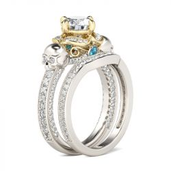 Jeulia Two Tone Round Cut Sterling Silver Skull Ring Set