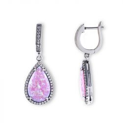 Jeulia Dreamlike Pink-Purple Opal Earrings