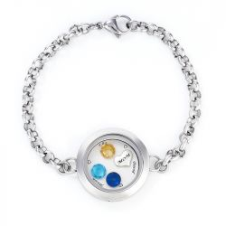 Jeulia Engraved Floating Locket Bracelet With Charms And Birthstones Stainless Steel