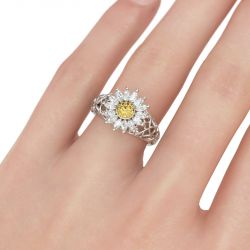 Jeulia Vines Daisy Sterling Silver Ring
