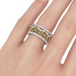 Jeulia Two Tone Owlet Sterling Silver Women's Band