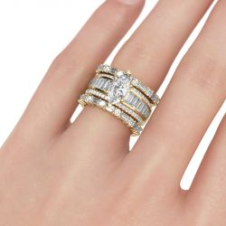 Jeulia Vintage Marquise Cut Sterling Silver Ring Set