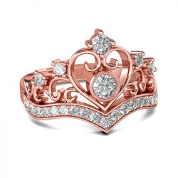 Jeulia Rose Gold Tone Crown Sterling Silver Ring
