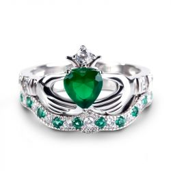 Jeulia Crown Heart Cut Sterling Silver Claddagh Ring Set