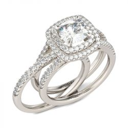 Jeulia Double Halo Cushion Cut Sterling Silver Ring Set
