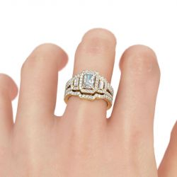 Jeulia 3PC Halo Gold Tone Radiant Cut Sterling Silver Ring Set